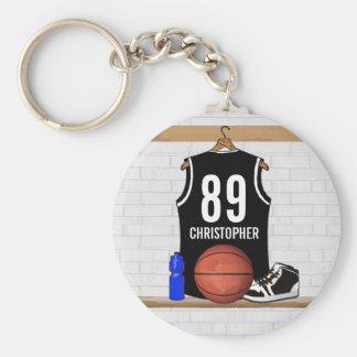 Jersey blanco y negro personalizado del baloncesto llaveros