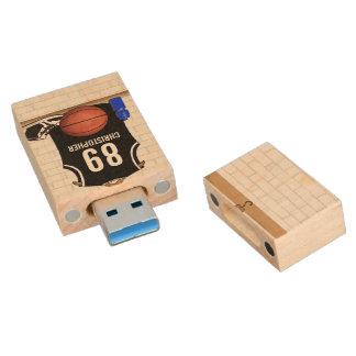 Jersey blanco y negro personalizado del baloncesto memorias USB de madera