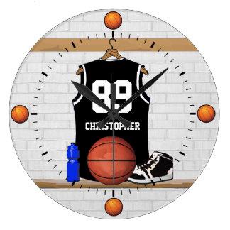 Jersey blanco y negro personalizado del baloncesto reloj redondo grande