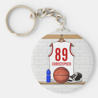 Jersey blanco y rojo personalizado del baloncesto llavero