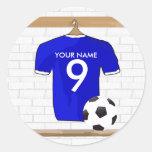 Jersey de fútbol blanco azul personalizado del pegatina redonda