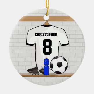 Jersey de fútbol negro blanco personalizado del adorno redondo de cerámica