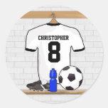 Jersey de fútbol negro personalizado del fútbol de pegatina redonda