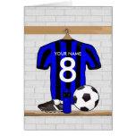 Jersey de fútbol negro y azul personalizado del fú tarjetas