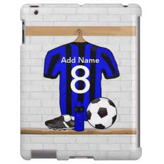 Jersey de fútbol negro y azul personalizado del funda para iPad