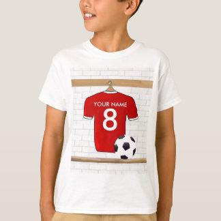 Jersey de fútbol rojo y blanco personalizado del