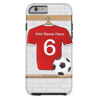 Jersey de fútbol rojo y blanco personalizado del funda de iPhone 6 tough