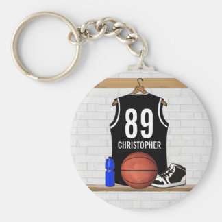 Jersey negro personalizado del baloncesto llaveros