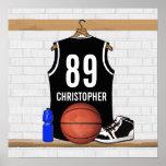 Jersey negro personalizado del baloncesto impresiones