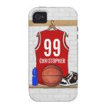 Jersey personalizado del baloncesto (rojo) iPhone 4 carcasa