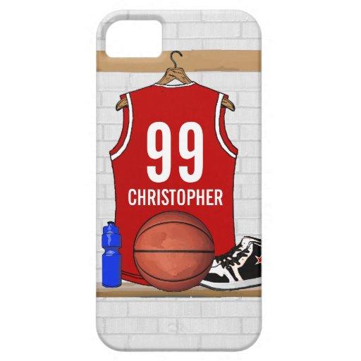 Jersey personalizado del baloncesto (rojo) iPhone 5 Case-Mate fundas