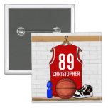 Jersey rojo personalizado del baloncesto pin