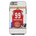 Jersey rojo y blanco personalizado del baloncesto funda de iPhone 6 tough