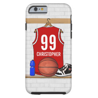 Jersey rojo y blanco personalizado del baloncesto funda para iPhone 6 tough