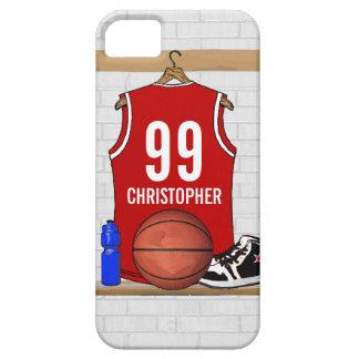 Jersey rojo y blanco personalizado del baloncesto iPhone 5 Case-Mate funda
