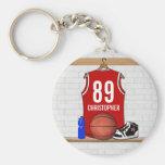 Jersey rojo y blanco personalizado del baloncesto llavero personalizado