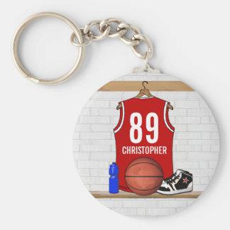 Jersey rojo y blanco personalizado del baloncesto llavero redondo tipo chapa