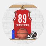 Jersey rojo y blanco personalizado del baloncesto etiquetas redondas
