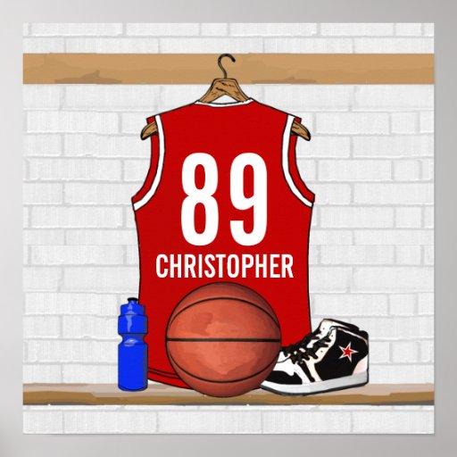 Jersey rojo y blanco personalizado del baloncesto poster