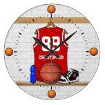 Jersey rojo y blanco personalizado del baloncesto reloj
