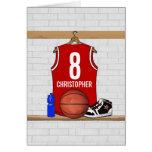 Jersey rojo y blanco personalizado del baloncesto tarjeta de felicitación