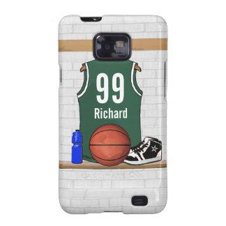 Jersey verde y blanco personalizado del baloncesto galaxy SII funda