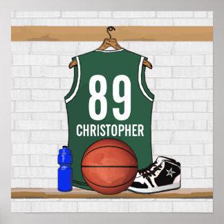 Jersey verde y blanco personalizado del baloncesto póster