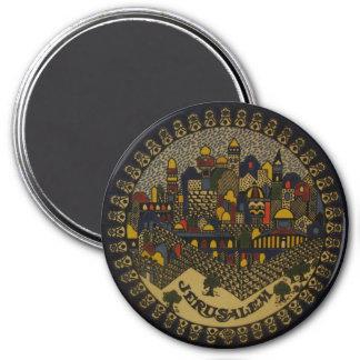 Jerusalén de cerámica imán redondo 7 cm