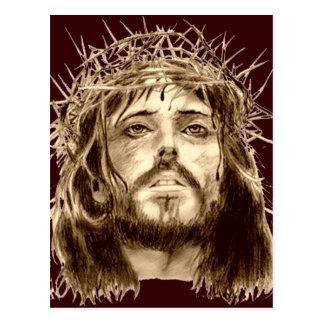 Jesucristo con una corona de espinas postal