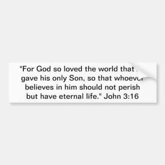 ¡Jesucristo del 3:16 de Juan…, nuestro señor y Pegatina Para Coche