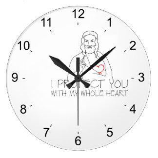 Jesucristo - le protejo reloj redondo grande