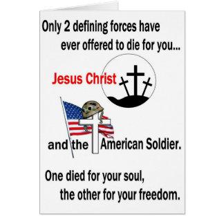 Jesucristo y el soldado americano felicitaciones