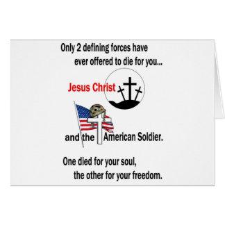 Jesucristo y el soldado americano tarjetas