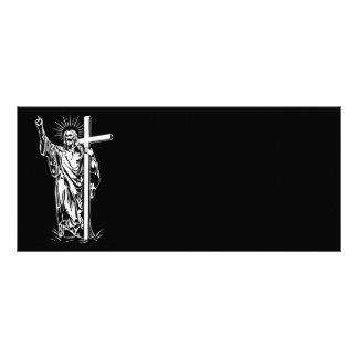 Jesucristo y una cruz tarjeta publicitaria