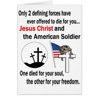 Jesucristo y versión del soldado americano la 2da tarjeta