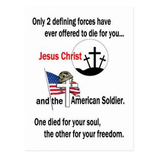 Jesucristo y versión del soldado americano la 2da postal