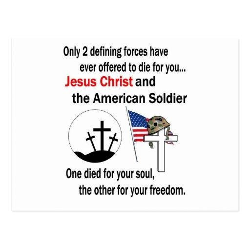 Jesucristo y versión del soldado americano la 2da postales