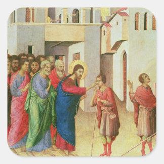 Jesús abre los ojos de una persiana nacida hombre, calcomanías cuadradases
