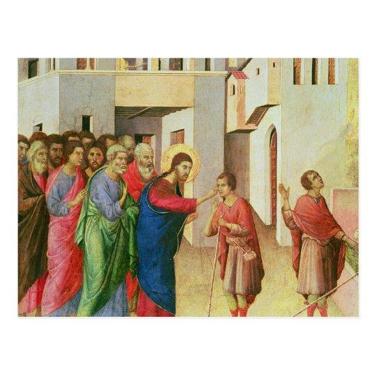 Jesús abre los ojos de una persiana nacida hombre, postal