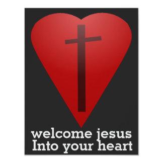 Jesús agradable en su corazón invitación 10,8 x 13,9 cm