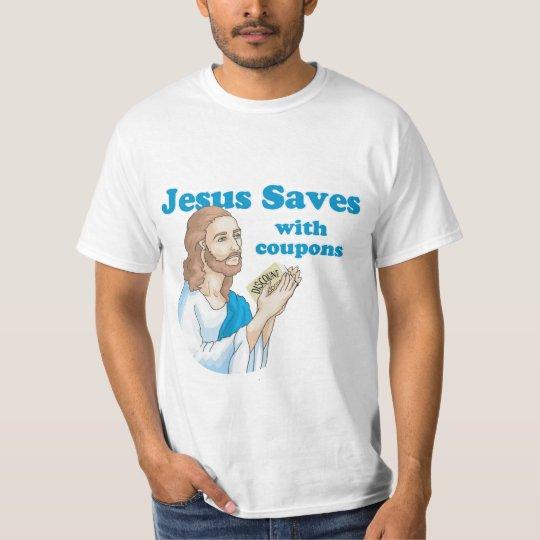 Jesús ahorra con las cupones camiseta