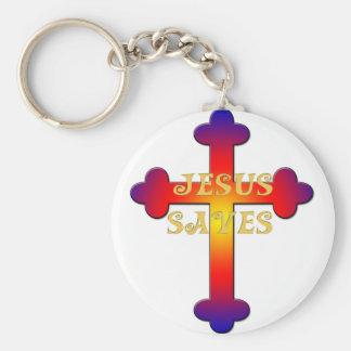 Jesús ahorra la cruz llavero redondo tipo chapa