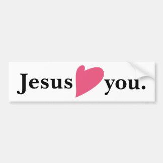 Jesús ama el corazón usted pegatina para el