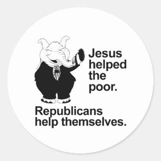 Jesús ayudó a los pobres. Los republicanos se Etiqueta Redonda