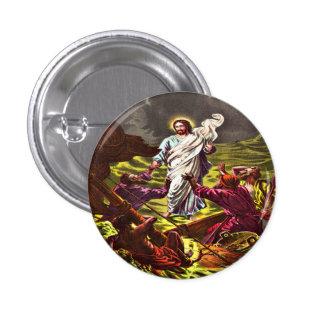 Jesús camina en el botón del agua chapa redonda 2,5 cm