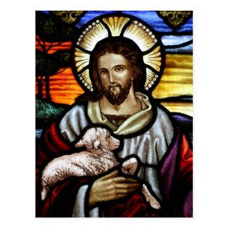 Jesús como el buen retrato del pastor postal