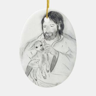 Jesús con el cordero ornamentos de navidad