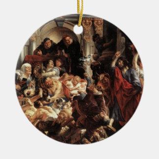 Jesús condujo los cambiadores de dinero del templo adorno redondo de cerámica