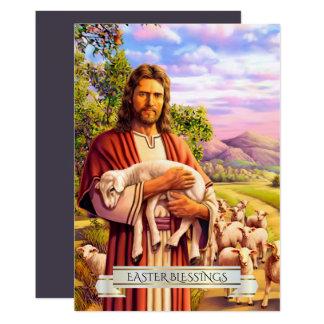 Jesús el buen pastor que pinta las tarjetas de invitación 12,7 x 17,8 cm