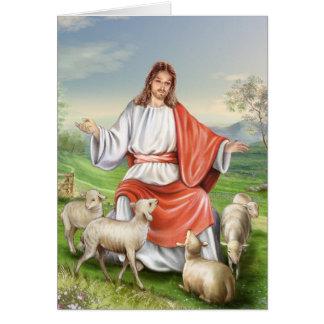 Jesús el buen pastor tarjeta
